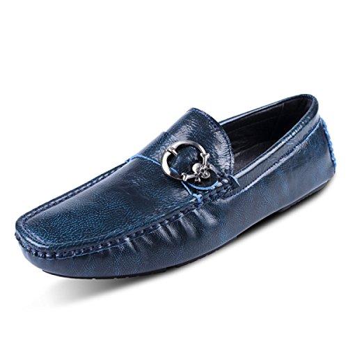 GRRONG Zapatos De Cuero Zapatos Perezosos De Los Hombres De Los Zapatos De Automóviles Hebilla De Cuero Puro De Los Hombres Blue