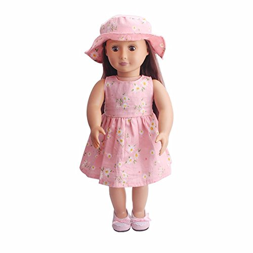 """American girl doll clothes accessories ,2018 summer 18"""" inch doll clothes ,american girl doll clothing set and hat,18 inch dolls for girls ,our generation doll clothes (pink)"""