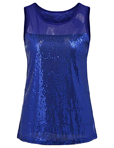 (Teen Girls Shimmer Glam Sequin Sparkle Tank Vest Mesh Patchwork Tops for Womens (Royal Blue, S))