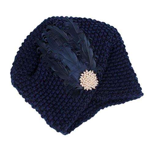 XILALU Women Ladies Retro Winter Warm Knitting Hat Turban Brim Hat Cap Elastic Feather Warp Cap Navy