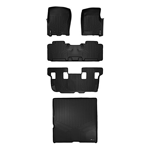 MAXFLOORMAT Floor Mats and MAXTRAY Cargo Liner Behind 2nd Row Set Black for 2011-2017 Expedition / Navigator With 2nd Row Bench Seat Or Console (No EL or L Models) (Cargo Console Row)