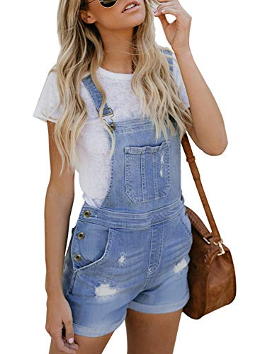 Sidefeel Women Jumper Bid Shortalls Plus Size Distressed Denim Overall Shorts X-Large Light Blue