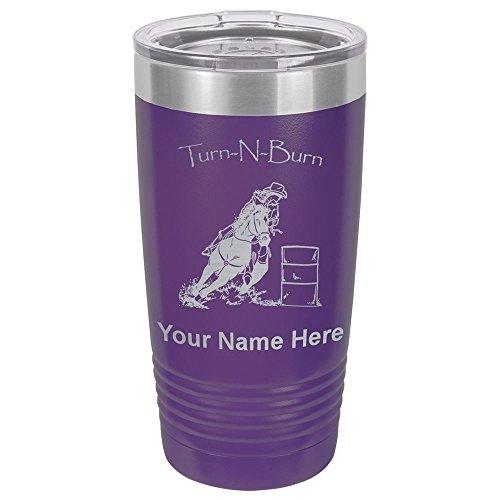 20oz Tumbler Mug, Barrel Racer Turn N Burn, Personalized Engraving Included (Dark Purple) -