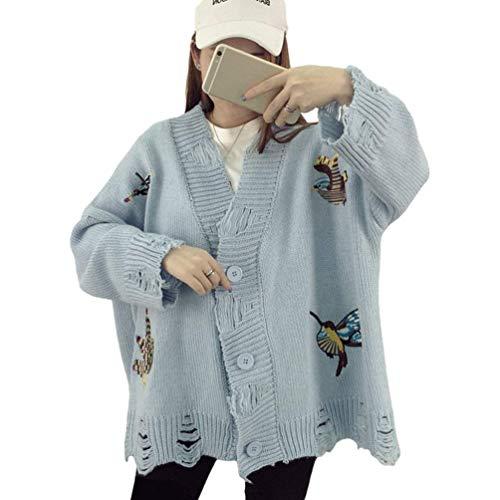 Cappotto Maniche Eleganti Pullover Maglia Autunno Giacche Primaverile Relaxed Moda Blau Donna Stlie Unique Ragazze Lunghe Giacca Retro A Casual Maglie 7Rwxr0qt7