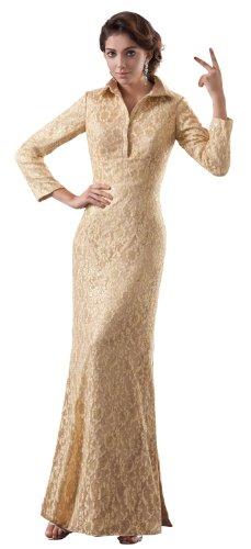 herafa p32536-14 Prom Dresses Elegant High Neck Long Sleeve Rows of Lace Long 0 A-Line Fresh Pink