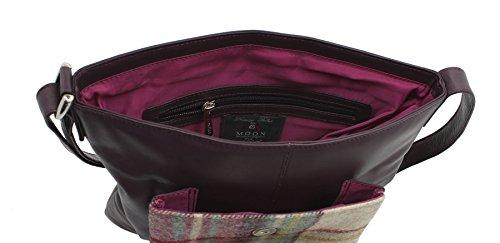 Mala ABERTWEED colección cuero & Tweed Cruz Body Bag 730_40 ciruelo punto morado (Plum)