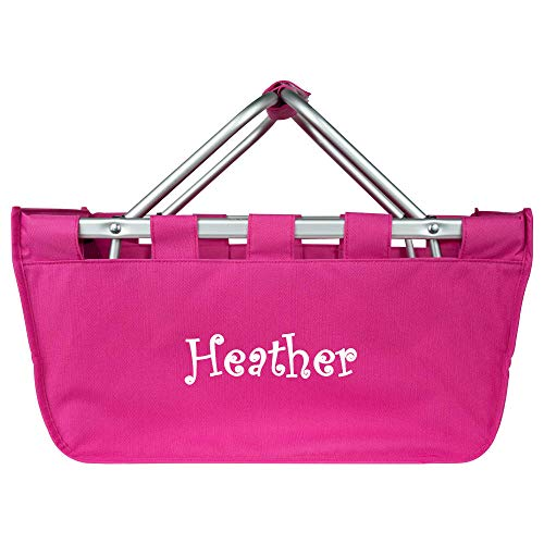 Personalized Large Collapsible Market Tote Baskets with Aluminum Frame (Pink) -