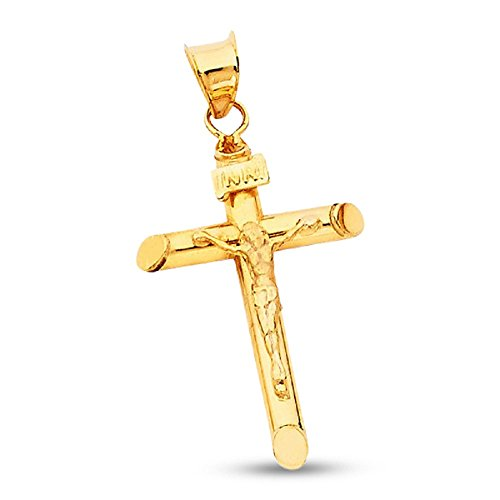 Solid 14k Yellow Gold Jesus Crucifix Charm Cross Pendant Christian Religious Christ Jewelry Genuine 25 mm x 17 mm (Pendant Gold Yellow Jesus)