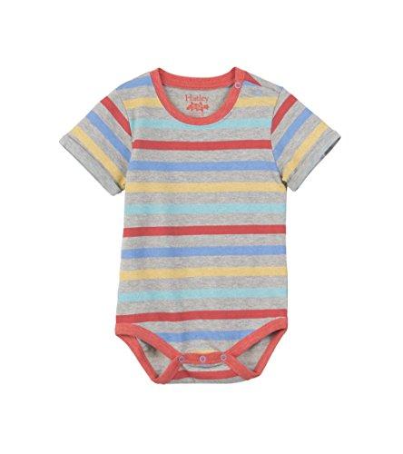 Hatley Baby Boys Mini Romper, Gray Marl Stripe, 18-24 Months