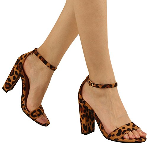 Chunky Leopard (Guilty Shoes Comfort Suede One Band Open Toe - Sexy Ankle Strap Buckle - Dress Party Chunky Heel Heeled-Sandas, Leopard Suede, 7.5)
