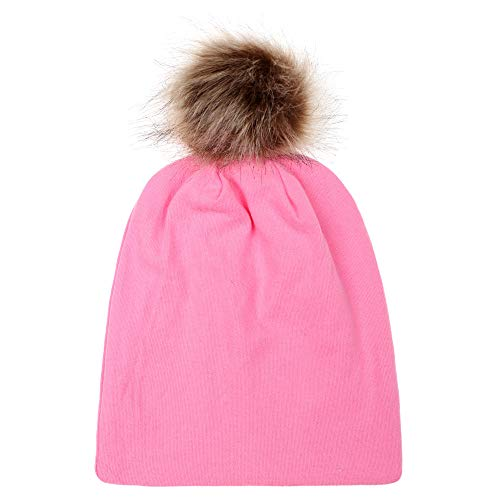 Fheaven (TM) Soft Pompom Hat Children Baby Cute Winter Fur Ball Hemming Hat Cap (Pink) ()
