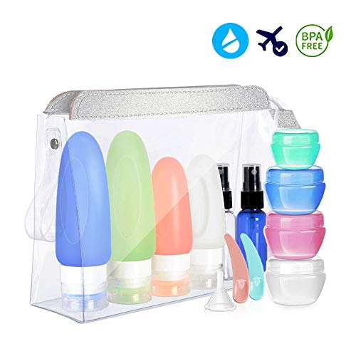 14 Pack Travel Bottles Set - Cehomi 3 Ounce Leakproof Silicone Refillable Travel Containers, Squeezable Travel Tube Sets, Heavy Duty Toiletry Bag, Perfect for Business Trip or Personal Travel