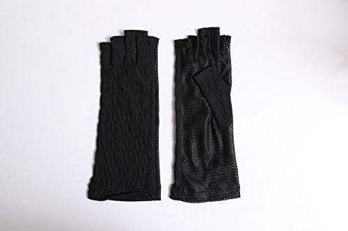 Women Sunblock UV Protection Mesh Outdoor Driving Antimicrobial and deodorant-finished Crinkle chiffon fabric Youryu Half Finger Fingerless Gloves Summer Japan Import by GlovesDEPO (Japan Summer Fashion)