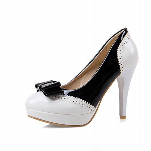 Latasa Mujeres Cute Bow Stiletto Plataforma De Tacón Alto Bombas Zapatos Blanco