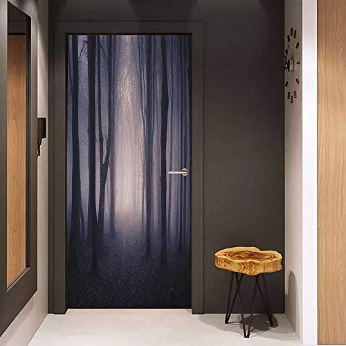 Onefzc Glass Door Sticker Decals Forest Path Through Dark Deep in Forest with Fog Halloween Creepy Twisted Branches Picture Door Mural Free Sticker W32 x H80 Pink Brown]()