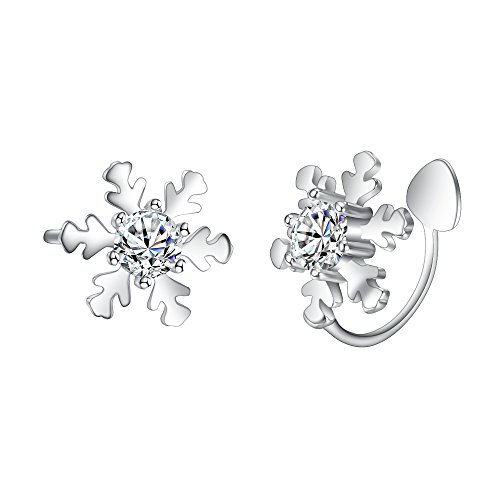 EleQueen 925 Sterling Silver CZ Winter Snowflake Ear Crawlers Sweep Wrap Cuff Bridal Clip-on Earrings Clear 1 Pair by EleQueen