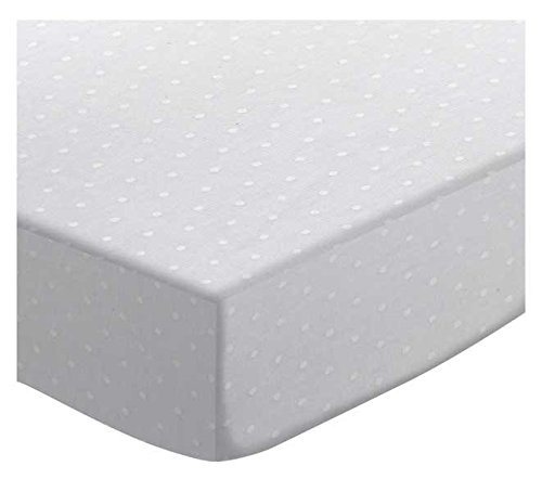 SheetWorld Fitted Sheet (Fits BabyBjorn Travel Crib Light) - White Swiss Dot Jersey Knit - Made In USA