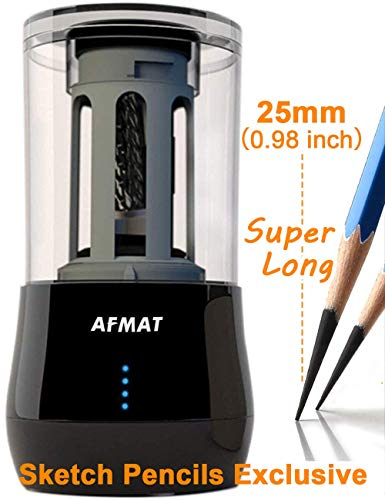 - Long Point Pencil Sharpener, AFMAT Professional Electric Pencil Sharpener, Rechargeable Heavy Duty Art Pencil Sharpener, Extra Long Pencil Sharpener for Colored & Drawing Sketching Pencils Art Pencils