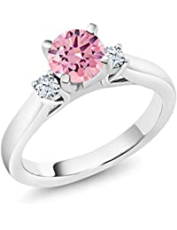 925 Sterling Silver Pink Zirconia and White Created Sapphire 3-Stone Ring (1.76 Ctw, Available in size 5, 6, 7, 8, 9)