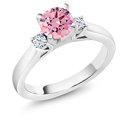 Gem Stone King 925 Sterling Silver Pink Zirconia and White Created Sapphire 3-Stone Ring 1.76 Ctw (Size 8)