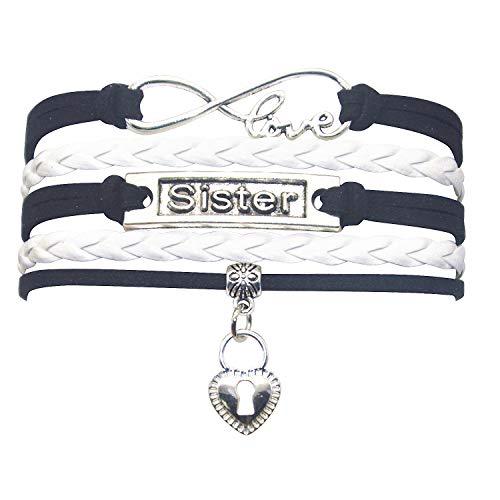 HHHbeauty Big Little Sister Bracelet - Cute Heart My Sister Charm Bracelet for Sister, Women (Black and White)