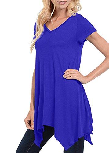 Yucharmyi Womens Comfy Swing Tunic Short Sleeve Solid T Shirt Dress Casual Loose T Shirt Tunic Dress Summer Dresses Knit Loose Swing Shirt Dress Simple T Shirt Loose Tunic Mini Dress  Blue  Xxl