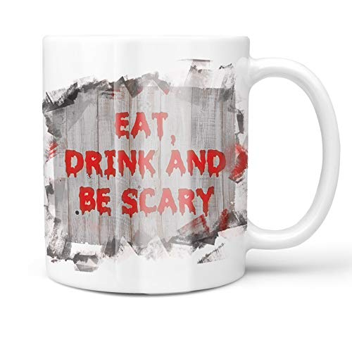 Neonblond 11oz Coffee Mug Eat, Drink and Be Scary Halloween Bloody Wall with your Custom Name ()