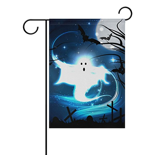 Naanle Halloween Ghost in the Graveyard Double Sided Polyest