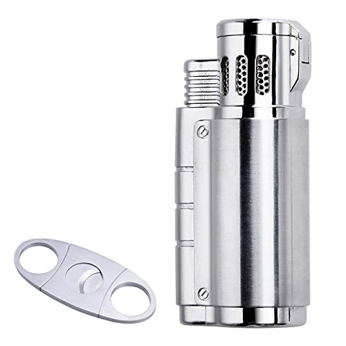 Cigarette Cigar Lighter Triple Jet Flame Butane Torch Combo Set with Cigar Punch Cutter Tool ()
