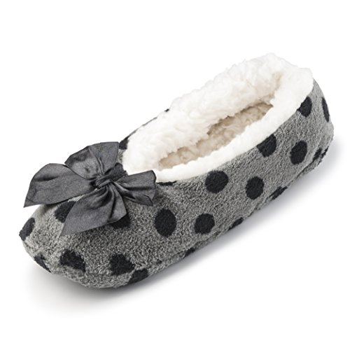 polka House Women Dots Sherpa Fleece for Slippers Shoes Ballerina Fuzzy Indoor Comfortable w Lining Grey BTO1qIw