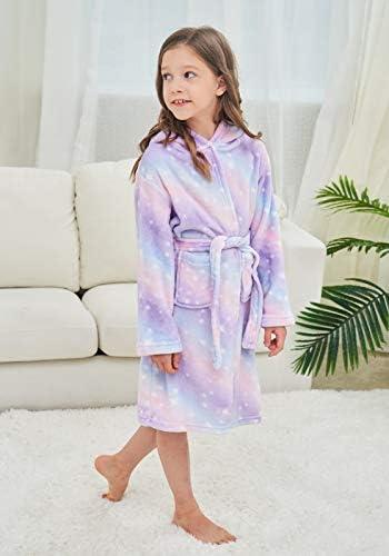 Unicorn Hooded Bathrobe Sleepwear Matching Slippers Girls Gifts