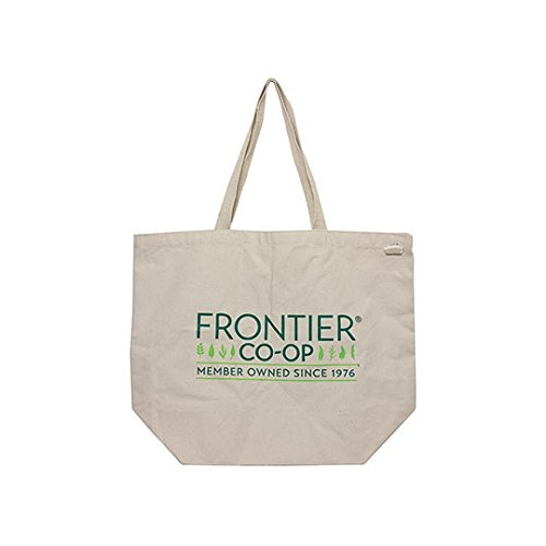 (Eco Bags Recycled Cotton Canvas Bags EveryDay Tote Bag with Frontier Co-op Logo 19in x 15 1/2in)