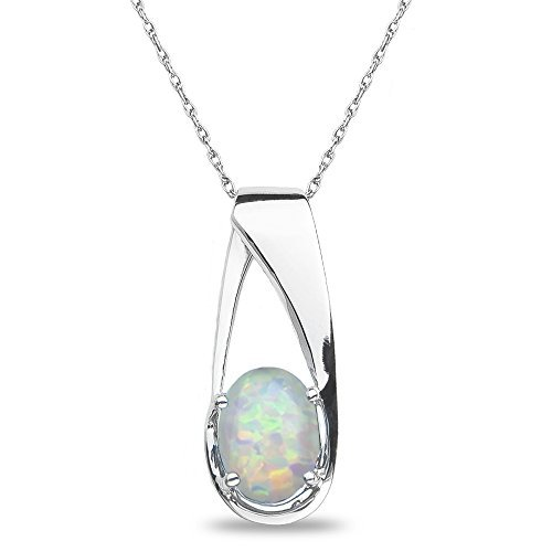 Created Opal Pendant in 10k White Gold by Nissoni Jewelry