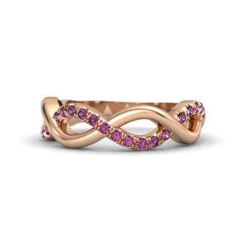 - 14K Rose Gold Ring with Rhodolite Garnet â€