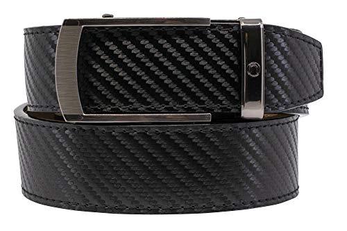 2019 Vetica Carbon Black Leather Italian Dress Belt for Men with Adjustable Ratchet Buckle - Nexbelt Ratchet System Technology
