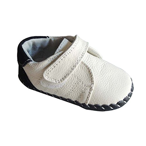 Kuner Infant Baby Boys Girls Genuine Leather Soft Bottom Non-slip First Walkers Shoes (13cm(12-18months), White)