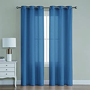 Sweepstakes: TEXPLUS 2 Panels Metallic Solid Color Thick Sheer Grommet...