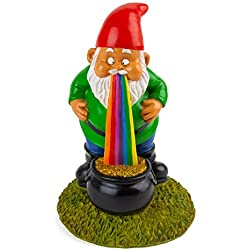 BigMouth Inc Lucky Rainbow 9-inch Tall Garden Gnome, Funny Lawn Gnome Statue, Garden Decoration
