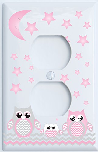 Grey and Pink Owl Outlet Cover / Owl Nursery Decor (Outlet Cover)