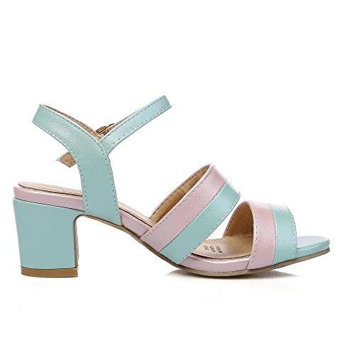 AllhqFashion Damen Weiches Material Rund Zehe Gemischte Farbe Stiefel mit Schnalle, Blau, 42