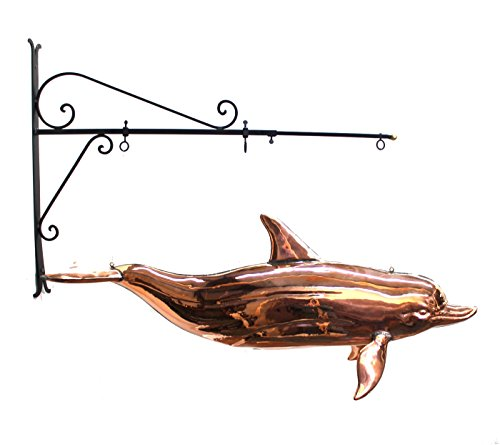 Copper DOLPHIN TRADE SIGN weathervane old styl nautical sea figure beach ()