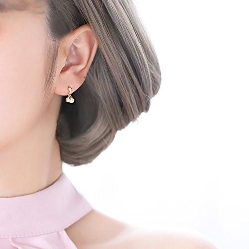 - KENHOI Beauty s925 silver stud earrings earings dangler eardrop beans 14k gold-cherry small gift women girls lucky golden goal