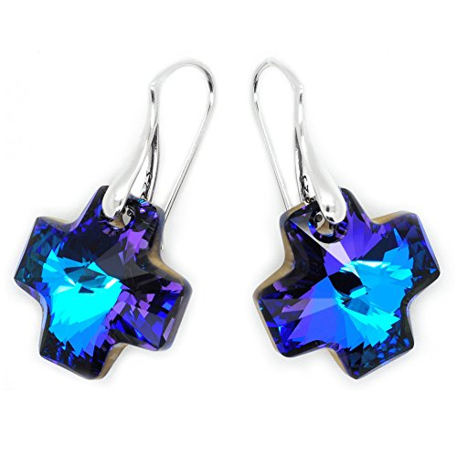 le Blue Cross Earrings made with Swarovski Crystals (Beautiful Crystal Cross Earrings)