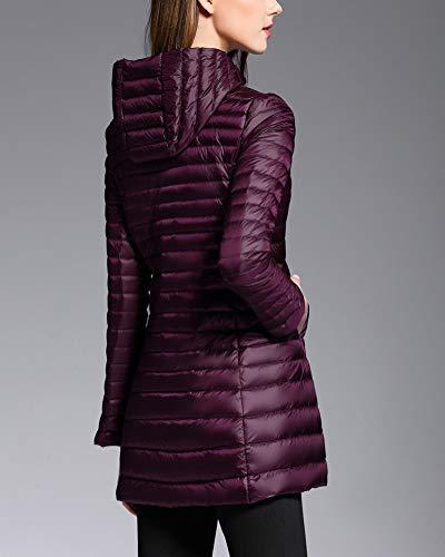 Trapuntato Cappotto Lunga Giacche Giacca Packable Con Ultraleggeri Donna Cappuccio Inverno Viola Piumino Suncaya wXY6xRR