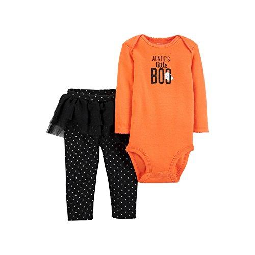 Carters Baby Girls Aunties Little BOO Halloween Bodysuit & Tutu Pant Set 3 months
