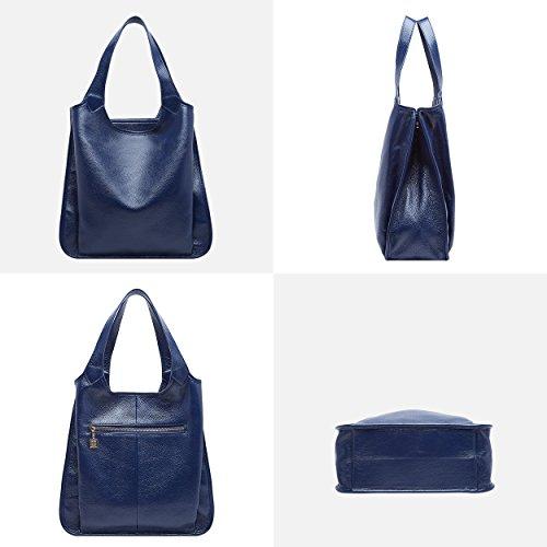 femmes à Sacs grand tout dames BOYATU sac main fourre à bandoulière pour Bleu les Mode Royal cuir Véritable en qSRARgwE8