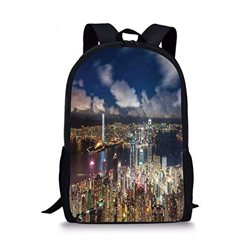 School Bags Cityscape,Night View Hong Kong Victoria Harbor Business Financial District Cityscape Print,Navy White for Boys&Girls Mens Sport -