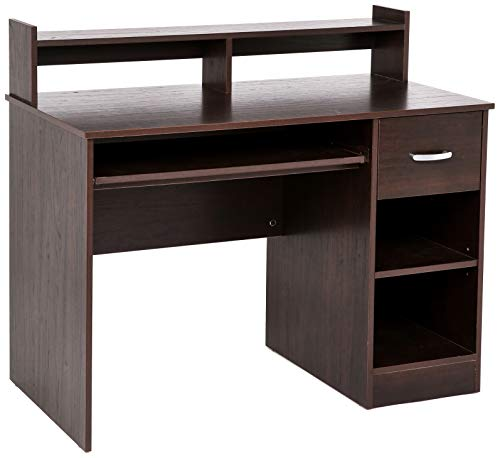 Rockpoint Portimo Compact Desk with Keyboard Tray, Cherry Brown