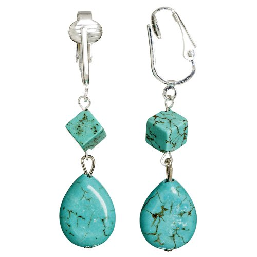 Trendy Turquoise Natural Gemstone Teardrop and Cube Clip-on Earrings for Ladies, Teenagers and Girls- Authentic, Gorgeous and Dangling
