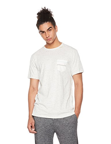 Rebel Canyon Men's Young Longline High-Low Short Sleeve Stripe Pocket T-Shirt XL White (Stripe Men T Shirt)